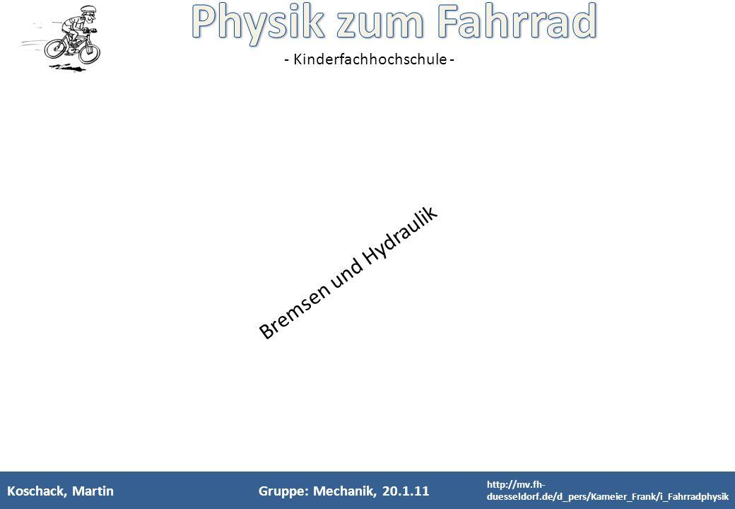- Kinderfachhochschule - Koschack, MartinGruppe: Mechanik, 20.1.11 Bremsen und Hydraulik http://mv.fh- duesseldorf.de/d_pers/Kameier_Frank/i_Fahrradph