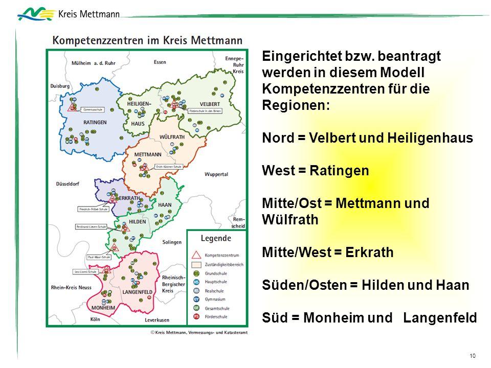 10 Eingerichtet bzw. beantragt werden in diesem Modell Kompetenzzentren für die Regionen: Nord = Velbert und Heiligenhaus West = Ratingen Mitte/Ost =