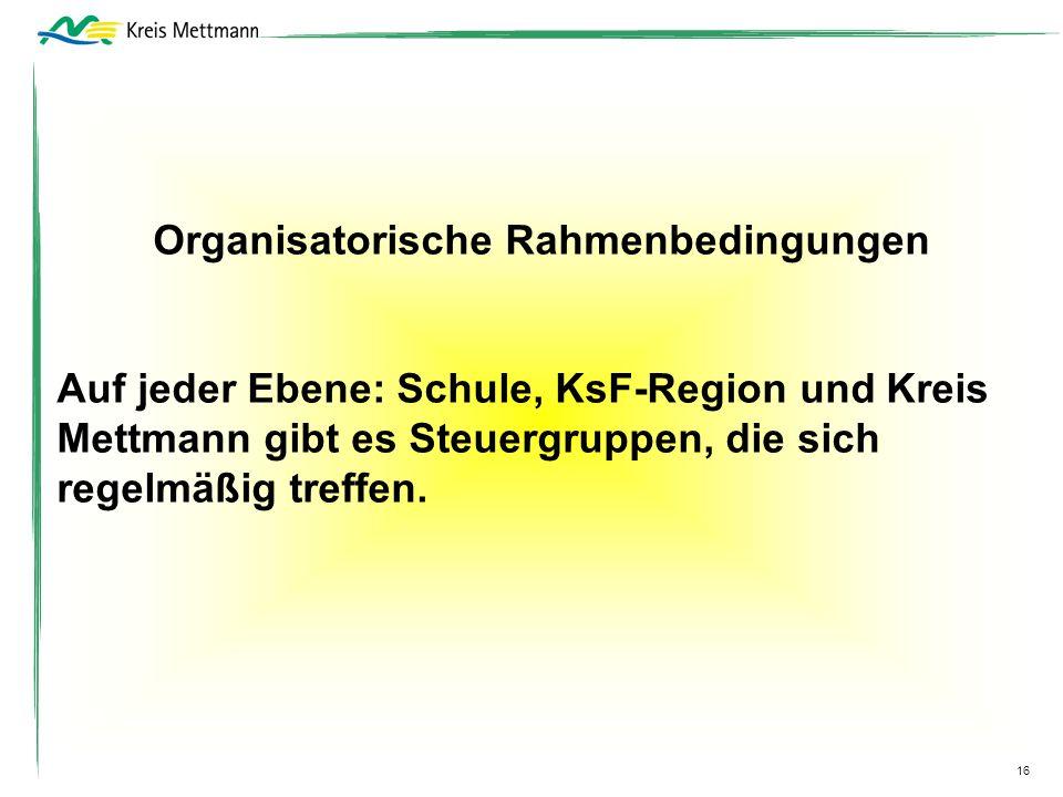 16 Organisatorische Rahmenbedingungen Auf jeder Ebene: Schule, KsF-Region und Kreis Mettmann gibt es Steuergruppen, die sich regelmäßig treffen.