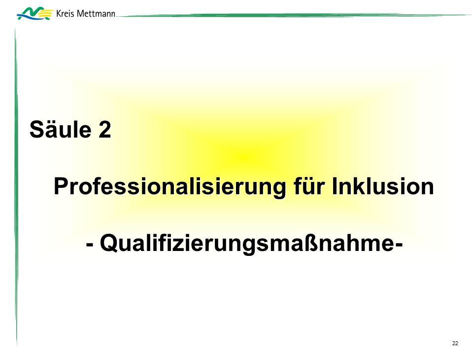 22 Säule 2 Professionalisierung für Inklusion - Qualifizierungsmaßnahme-