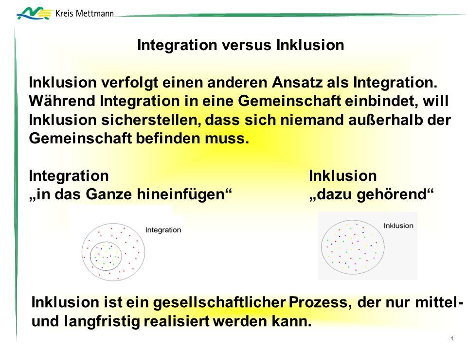 Integration versus Inklusion Inklusion verfolgt einen anderen Ansatz als Integration. Während Integration in eine Gemeinschaft einbindet, will Inklusi