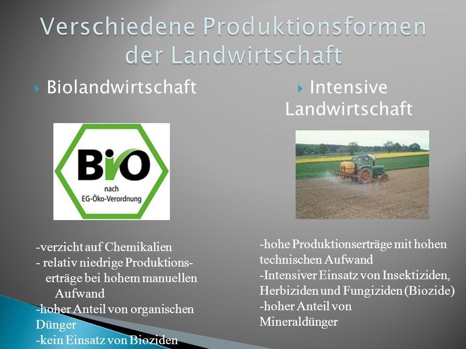 Biolandwirtschaft Intensive Landwirtschaft -hohe Produktionserträge mit hohen technischen Aufwand -Intensiver Einsatz von Insektiziden, Herbiziden und