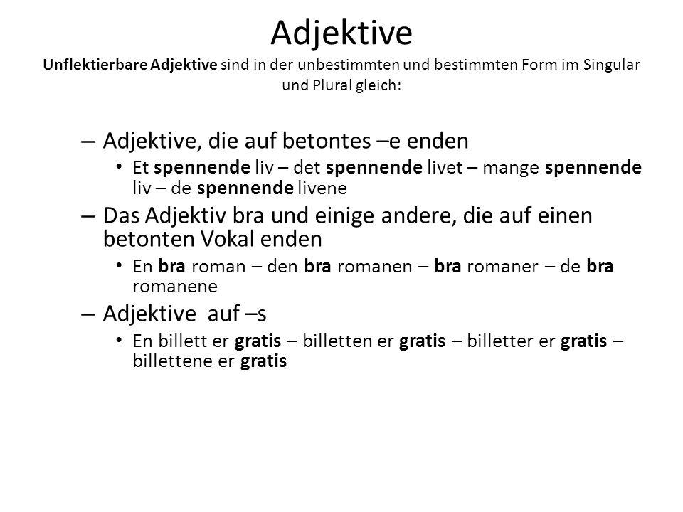Adjektive Unflektierbare Adjektive sind in der unbestimmten und bestimmten Form im Singular und Plural gleich: – Adjektive, die auf betontes –e enden