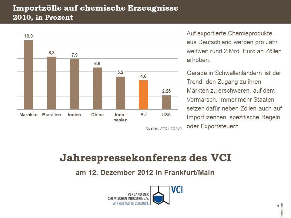 am 12. Dezember 2012 in Frankfurt/Main Jahrespressekonferenz des VCI 7 Importzölle auf chemische Erzeugnisse Auf exportierte Chemieprodukte aus Deutsc