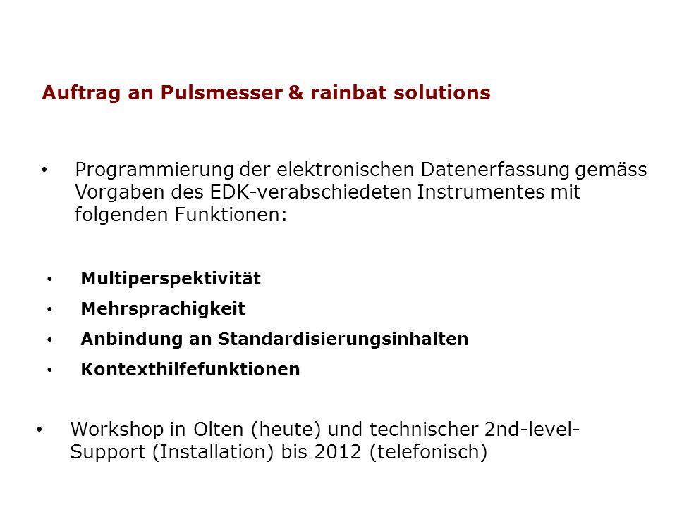 Programmierung der elektronischen Datenerfassung gemäss Vorgaben des EDK-verabschiedeten Instrumentes mit folgenden Funktionen: Auftrag an Pulsmesser