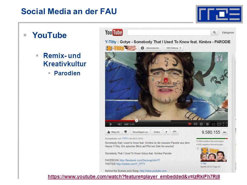 Social Media an der FAU YouTube Remix- und Kreativkultur Parodien https://www.youtube.com/watch feature=player_embedded&v=IzRkiFh7Rj8 http://www.youtube.com/user/Bayern
