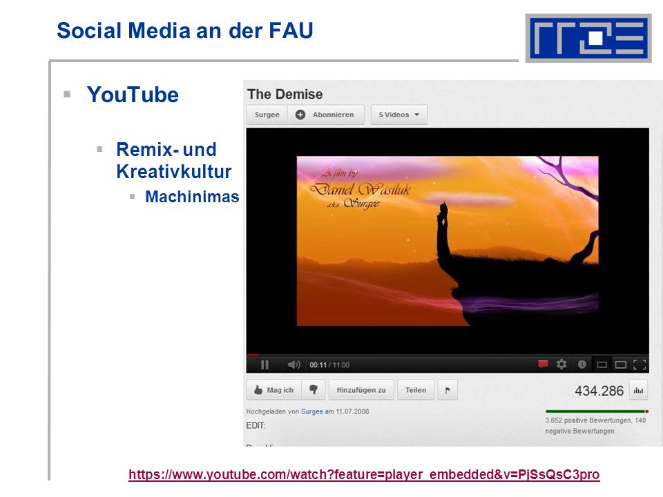 Social Media an der FAU YouTube Remix- und Kreativkultur Machinimas   feature=player_embedded&v=PjSsQsC3pro
