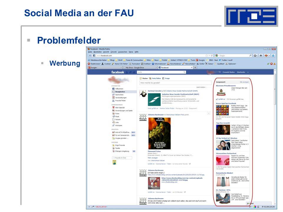 Social Media an der FAU Problemfelder Werbung