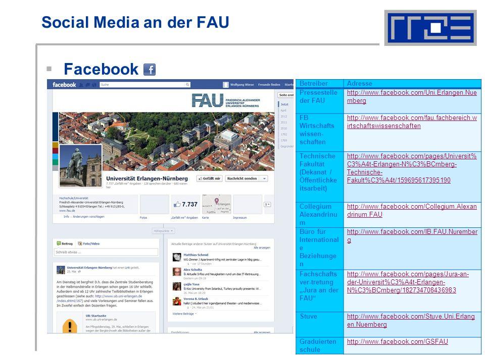 Social Media an der FAU Facebook BetreiberAdresse Pressestelle der FAU http://www.facebook.com/Uni.Erlangen.Nue rnberg FB Wirtschafts wissen- schaften http://www.facebook.com/fau.fachbereich.w irtschaftswissenschaften Technische Fakultät (Dekanat / Öffentlichke itsarbeit) http://www.facebook.com/pages/Universit% C3%A4t-Erlangen-N%C3%BCrnberg- Technische- Fakult%C3%A4t/159695617395190 Collegium Alexandrinu m http://www.facebook.com/Collegium.Alexan drinum.FAU Büro für International e Beziehunge n http://www.facebook.com/IB.FAU.Nurember g Fachschafts ver-tretung Jura an der FAU http://www.facebook.com/pages/Jura-an- der-Universit%C3%A4t-Erlangen- N%C3%BCrnberg/182734708436983 Stuvehttp://www.facebook.com/Stuve.Uni.Erlang en.Nuernberg Graduierten schule http://www.facebook.com/GSFAU