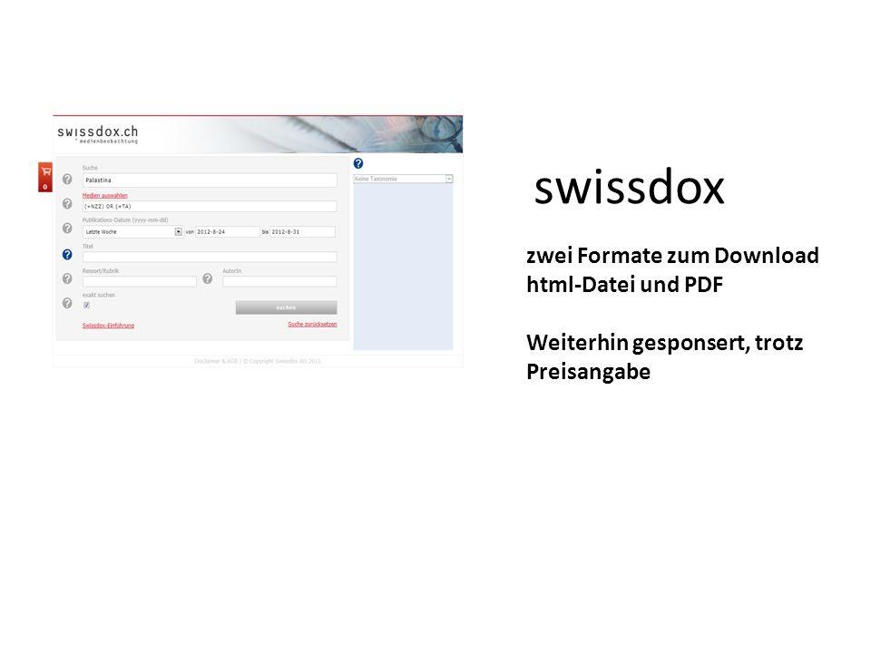 swissdox zwei Formate zum Download html-Datei und PDF Weiterhin gesponsert, trotz Preisangabe