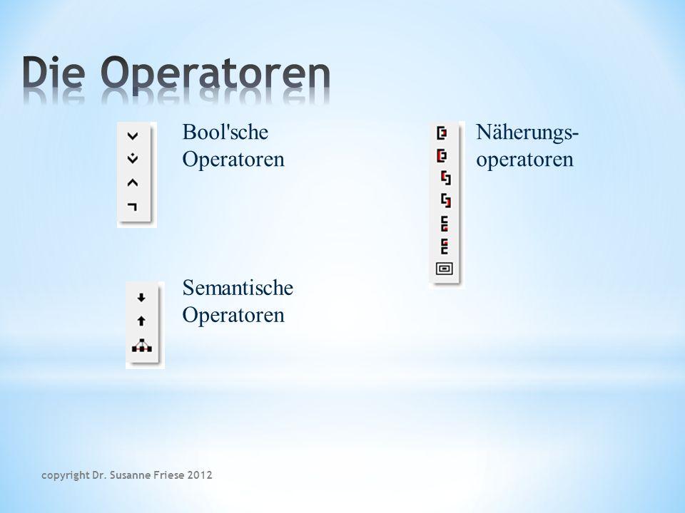 Bool sche Operatoren Semantische Operatoren Näherungs- operatoren copyright Dr. Susanne Friese 2012