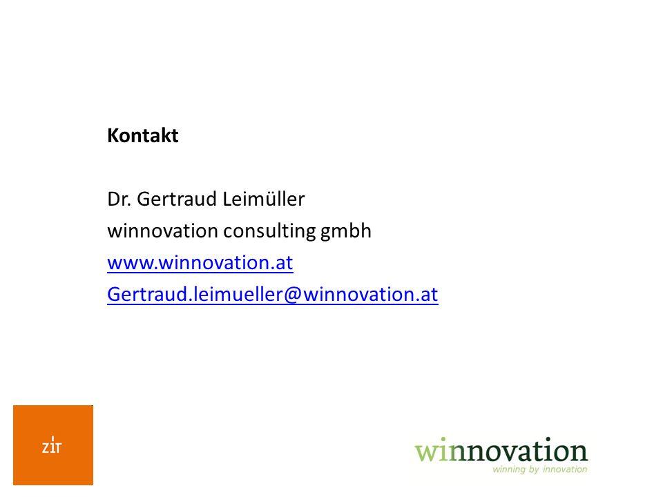 Kontakt Dr. Gertraud Leimüller winnovation consulting gmbh www.winnovation.at Gertraud.leimueller@winnovation.at