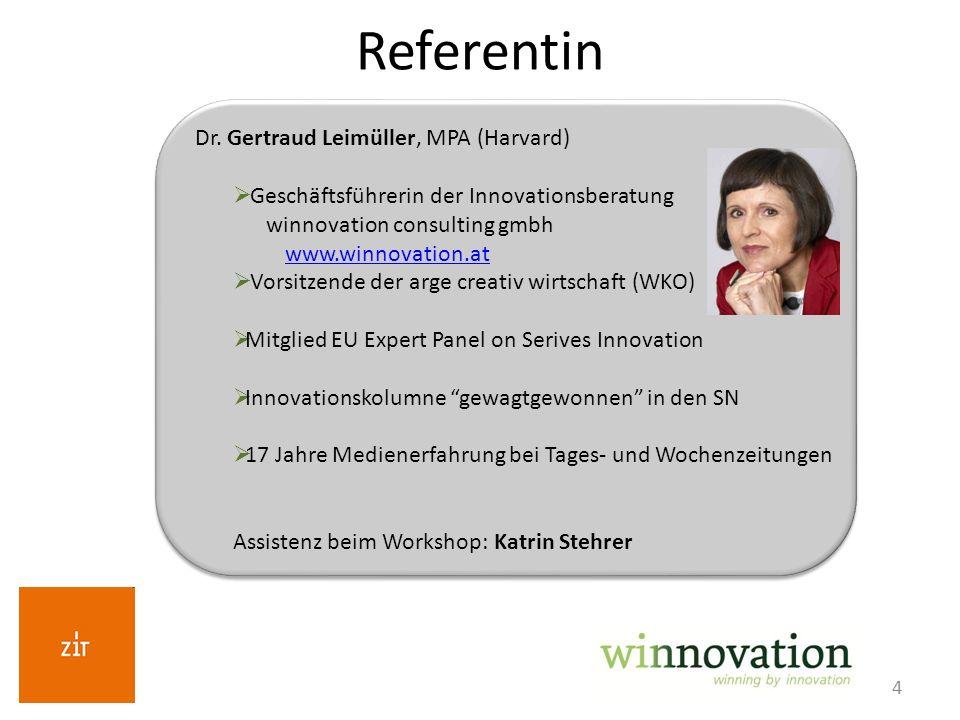 4 Referentin Dr. Gertraud Leimüller, MPA (Harvard) Geschäftsführerin der Innovationsberatung winnovation consulting gmbh www.winnovation.at Vorsitzend