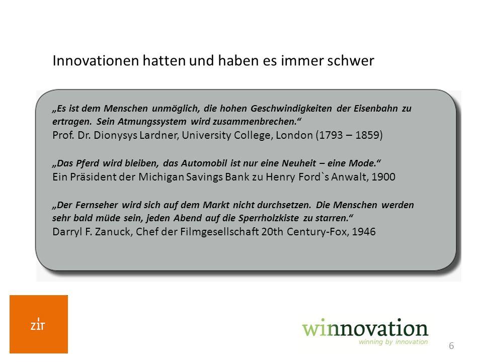 6 Innovationen hatten und haben es immer schwer Es ist dem Menschen unmöglich, die hohen Geschwindigkeiten der Eisenbahn zu ertragen. Sein Atmungssyst
