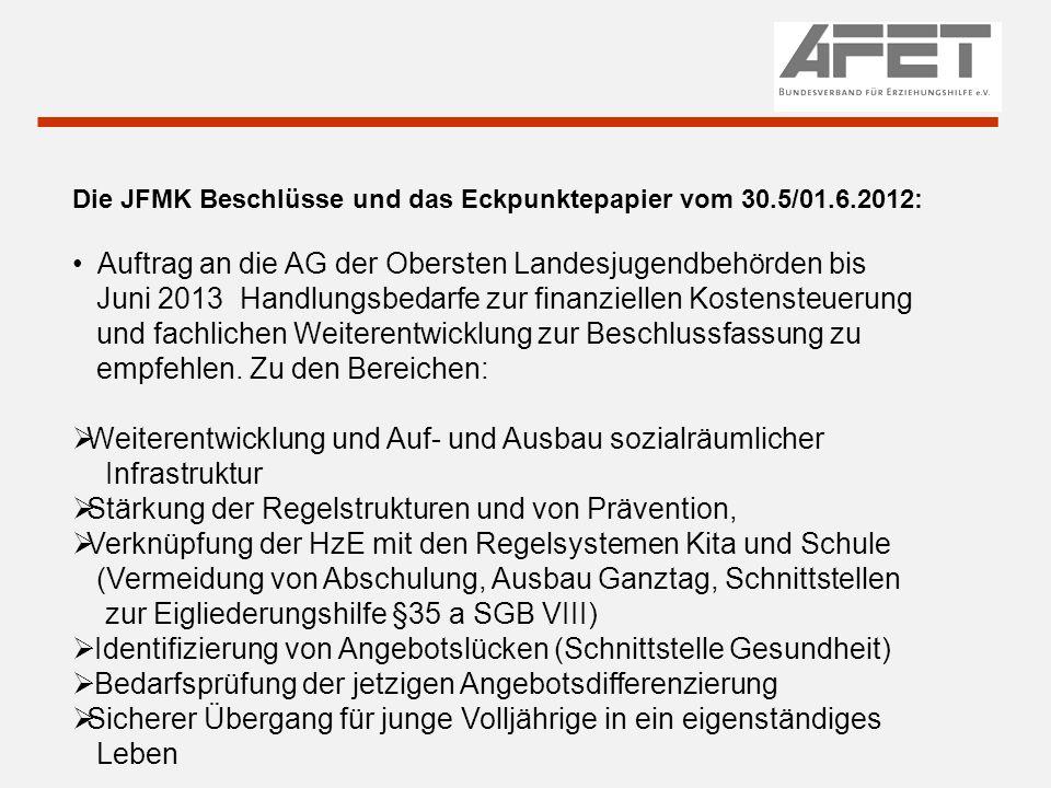 Die JFMK Beschlüsse und das Eckpunktepapier vom 30.5/01.6.2012: Auftrag an die AG der Obersten Landesjugendbehörden bis Juni 2013 Handlungsbedarfe zur finanziellen Kostensteuerung und fachlichen Weiterentwicklung zur Beschlussfassung zu empfehlen.