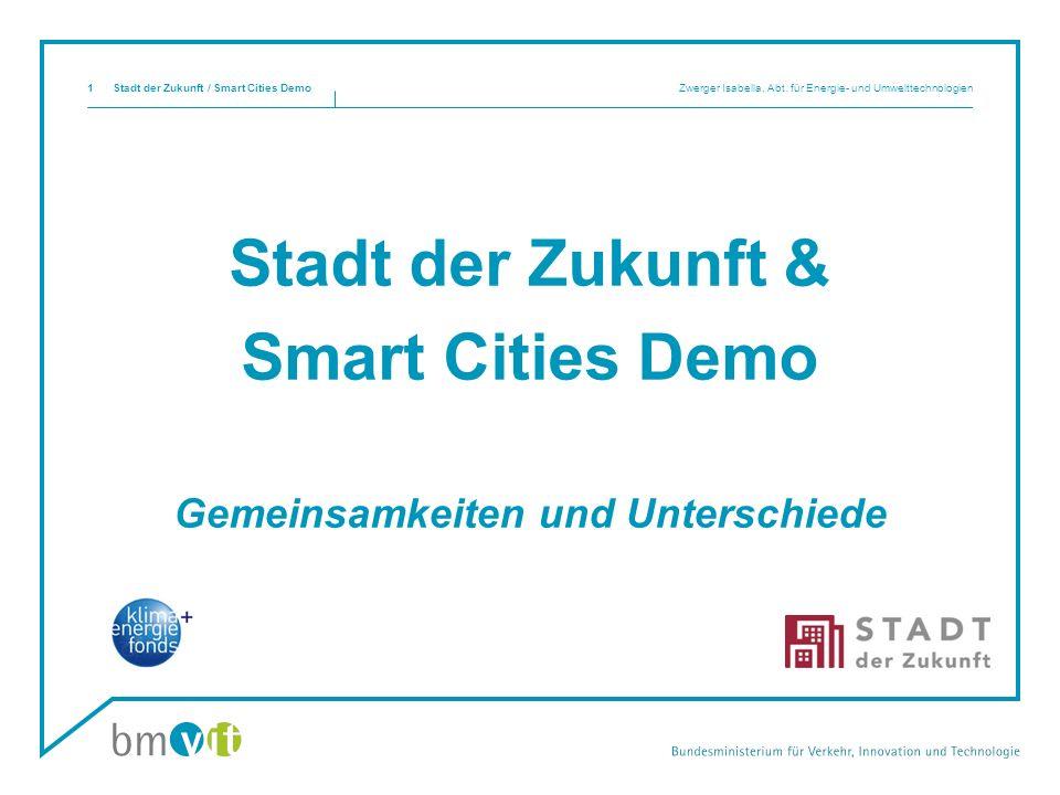 Stadt der Zukunft & Smart Cities Demo Gemeinsamkeiten und Unterschiede Stadt der Zukunft / Smart Cities Demo Zwerger Isabella, Abt.