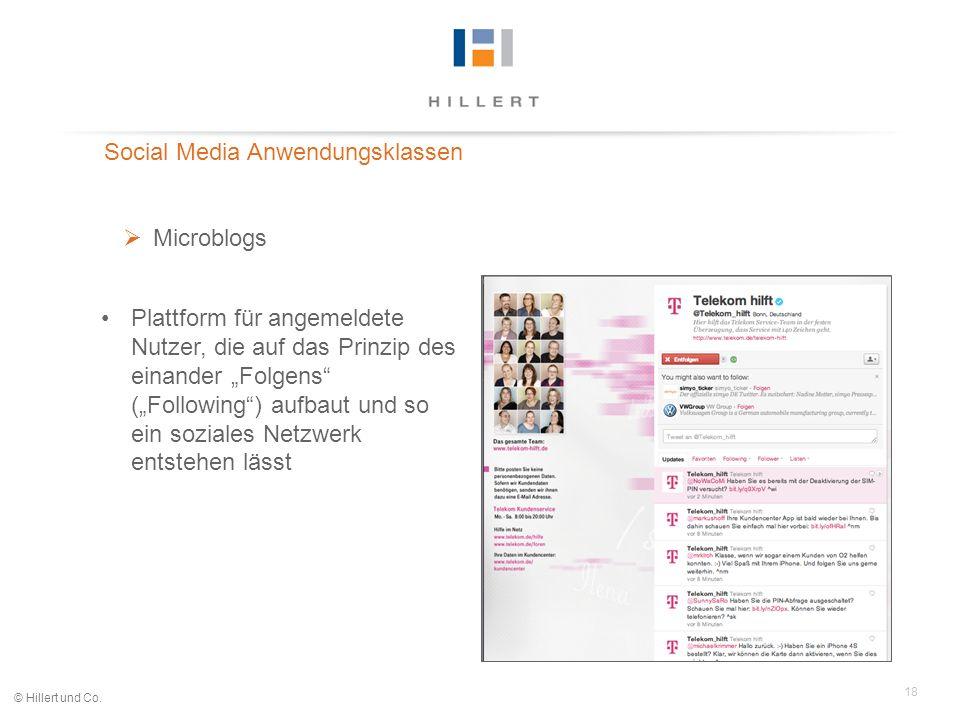 18 © Hillert und Co. Social Media Anwendungsklassen Microblogs Plattform für angemeldete Nutzer, die auf das Prinzip des einander Folgens (Following)
