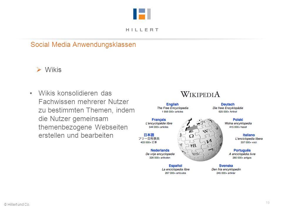 19 © Hillert und Co. Social Media Anwendungsklassen Wikis Wikis konsolidieren das Fachwissen mehrerer Nutzer zu bestimmten Themen, indem die Nutzer ge
