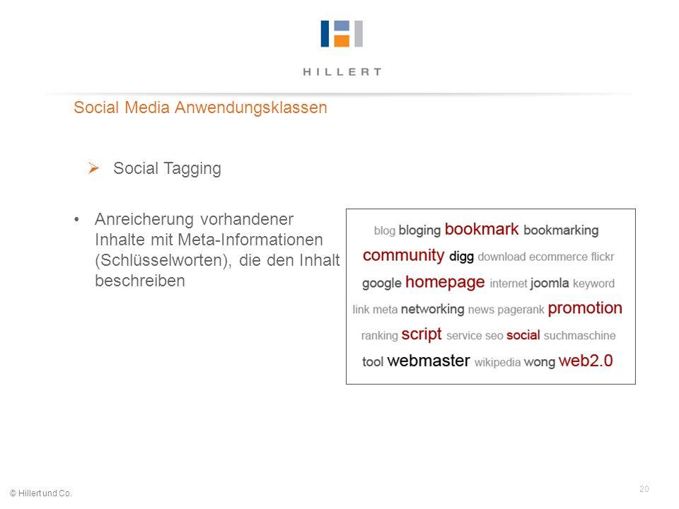20 © Hillert und Co. Social Media Anwendungsklassen Social Tagging Anreicherung vorhandener Inhalte mit Meta-Informationen (Schlüsselworten), die den