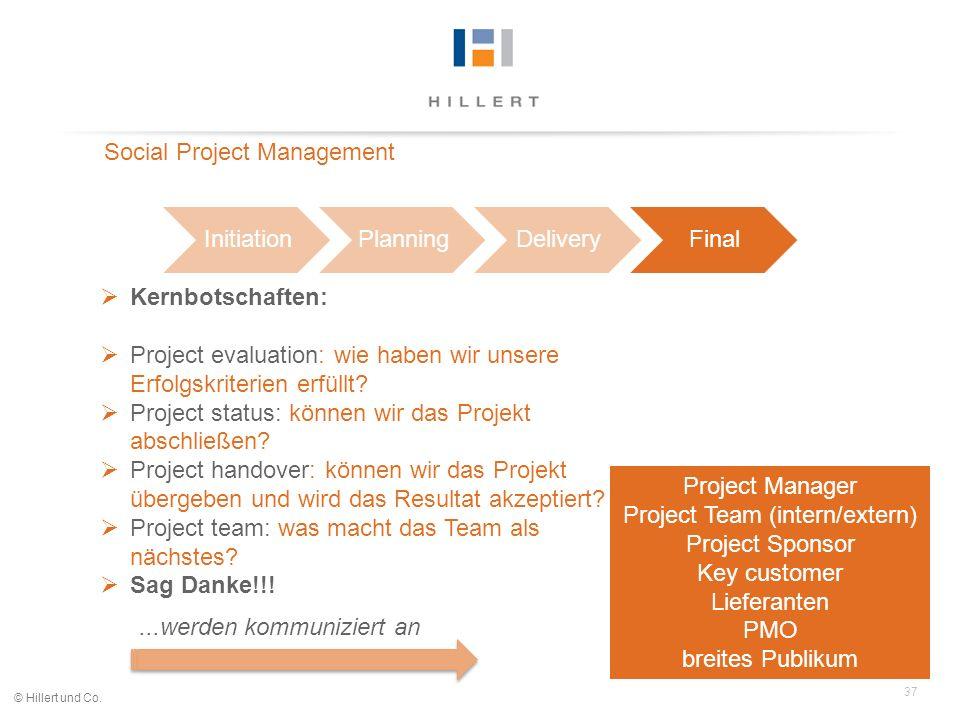 37 © Hillert und Co. InitiationPlanningDeliveryFinal Social Project Management Kernbotschaften: Project evaluation: wie haben wir unsere Erfolgskriter
