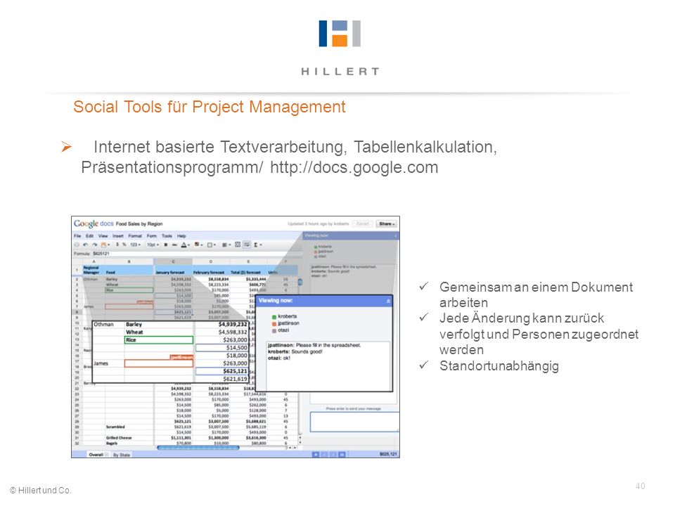 40 © Hillert und Co. Social Tools für Project Management Internet basierte Textverarbeitung, Tabellenkalkulation, Präsentationsprogramm/ http://docs.g
