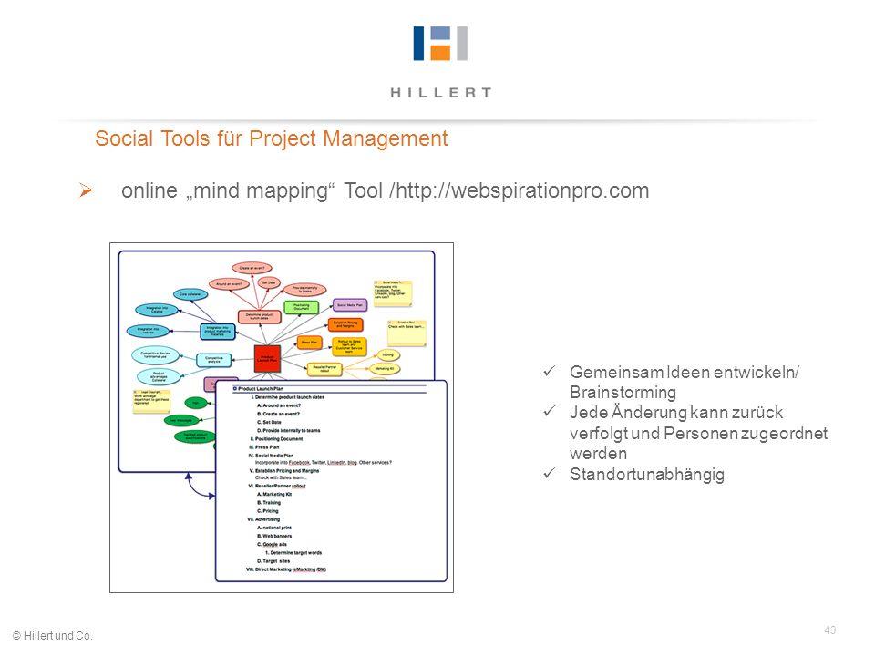 43 © Hillert und Co. Social Tools für Project Management online mind mapping Tool /http://webspirationpro.com Gemeinsam Ideen entwickeln/ Brainstormin