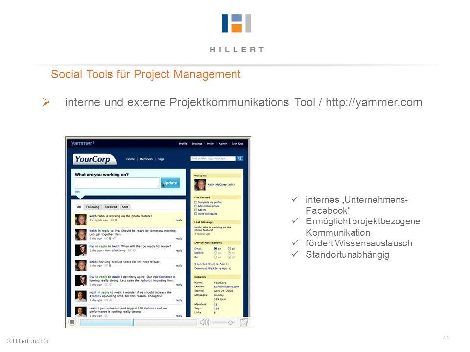 44 © Hillert und Co. Social Tools für Project Management interne und externe Projektkommunikations Tool / http://yammer.com internes Unternehmens- Fac