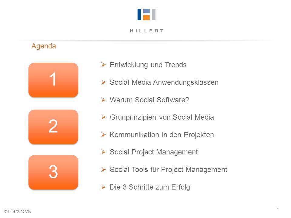 7 © Hillert und Co. Agenda Entwicklung und Trends Social Media Anwendungsklassen Warum Social Software? Grunprinzipien von Social Media Kommunikation