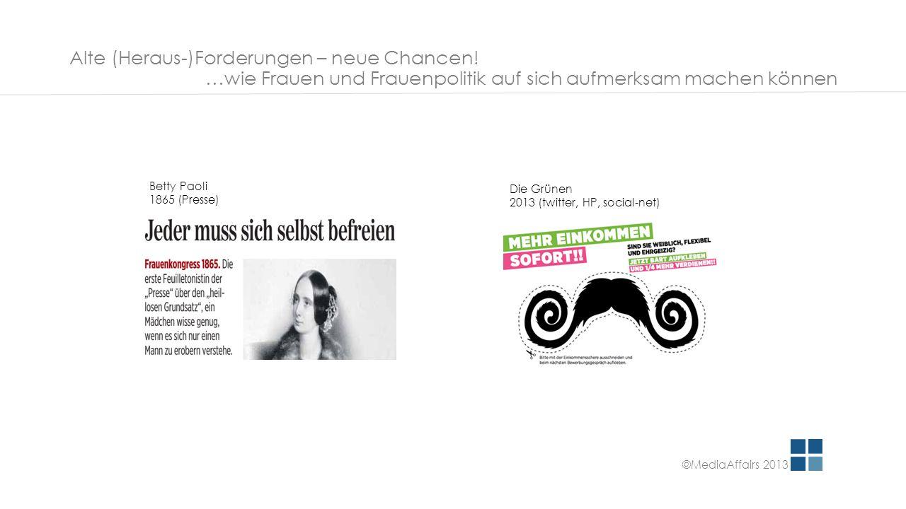 Alte (Heraus-)Forderungen – neue Chancen! …wie Frauen und Frauenpolitik auf sich aufmerksam machen können Betty Paoli 1865 (Presse) Die Grünen 2013 (t