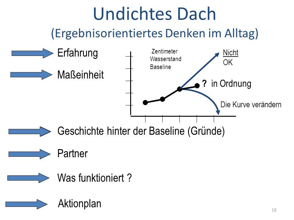 Undichtes Dach (Ergebnisorientiertes Denken im Alltag) Erfahrung Maßeinheit Geschichte hinter der Baseline (Gründe) Partner Was funktioniert .