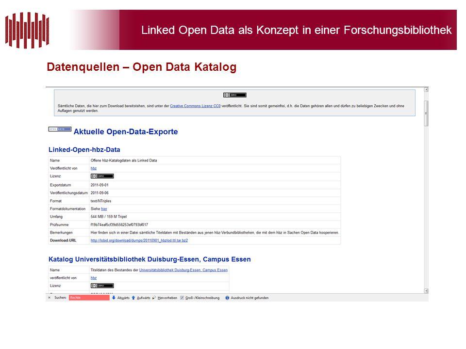 Linked Open Data als Konzept in einer Forschungsbibliothek Datenquellen – Open Data Katalog