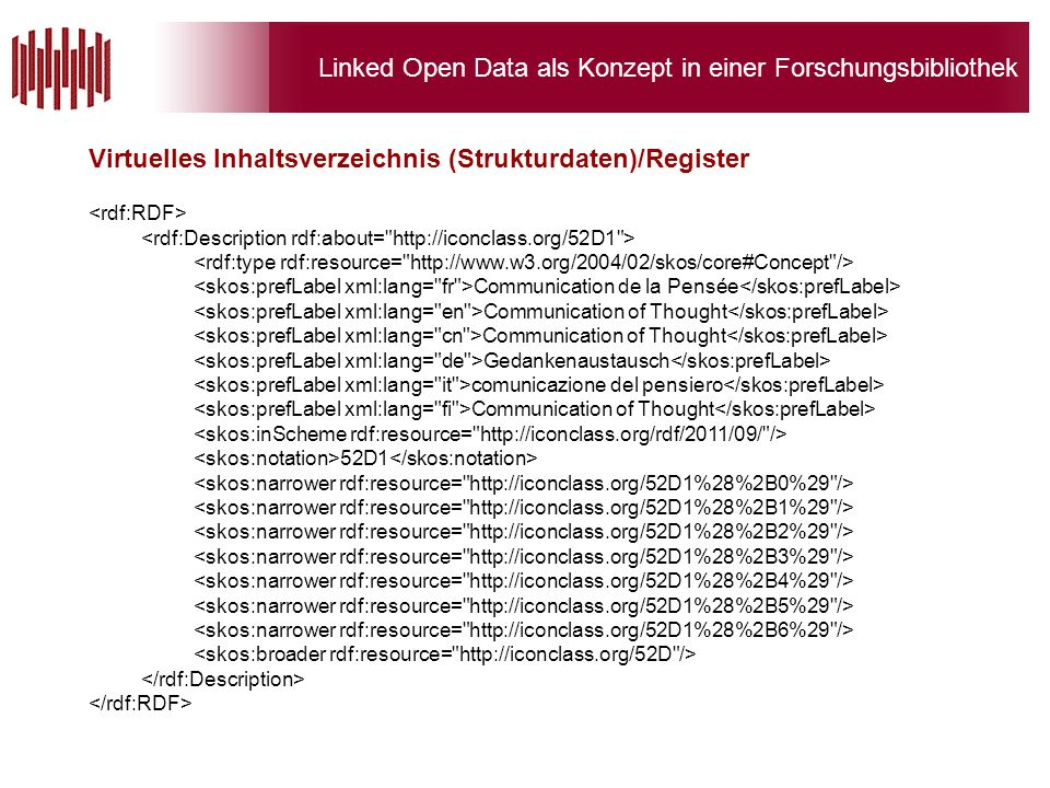 Linked Open Data als Konzept in einer Forschungsbibliothek Virtuelles Inhaltsverzeichnis (Strukturdaten)/Register Communication de la Pensée Communication of Thought Gedankenaustausch comunicazione del pensiero Communication of Thought 52D1