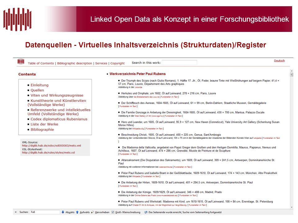 Linked Open Data als Konzept in einer Forschungsbibliothek Datenquellen - Virtuelles Inhaltsverzeichnis (Strukturdaten)/Register