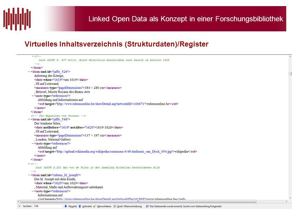 Linked Open Data als Konzept in einer Forschungsbibliothek Virtuelles Inhaltsverzeichnis (Strukturdaten)/Register