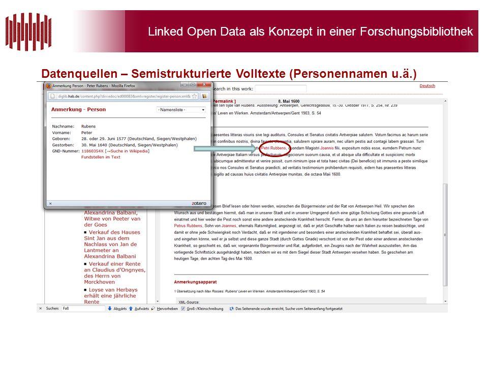 Linked Open Data als Konzept in einer Forschungsbibliothek Datenquellen – Semistrukturierte Volltexte (Personennamen u.ä.)