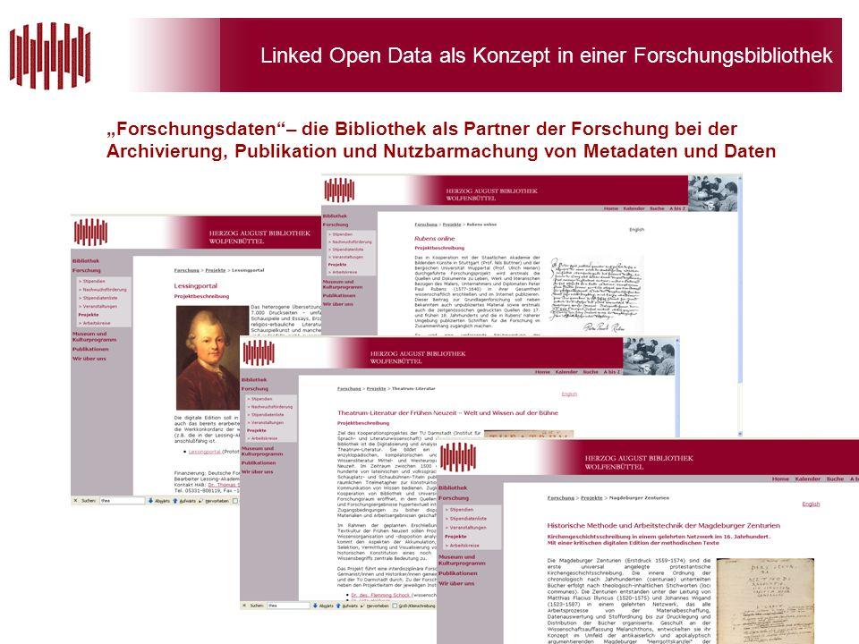 Linked Open Data als Konzept in einer Forschungsbibliothek Forschungsdaten– die Bibliothek als Partner der Forschung bei der Archivierung, Publikation und Nutzbarmachung von Metadaten und Daten
