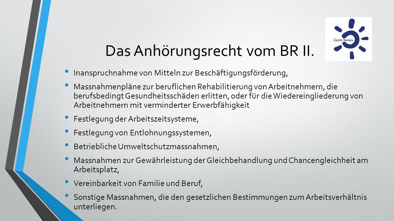 Das Anhörungsrecht vom BR II. Inanspruchnahme von Mitteln zur Beschäftigungsförderung, Massnahmenpläne zur beruflichen Rehabilitierung von Arbeitnehme