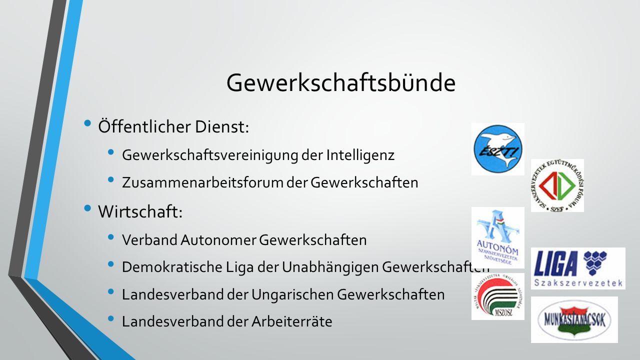 Gewerkschaftsbünde Öffentlicher Dienst: Gewerkschaftsvereinigung der Intelligenz Zusammenarbeitsforum der Gewerkschaften Wirtschaft: Verband Autonomer