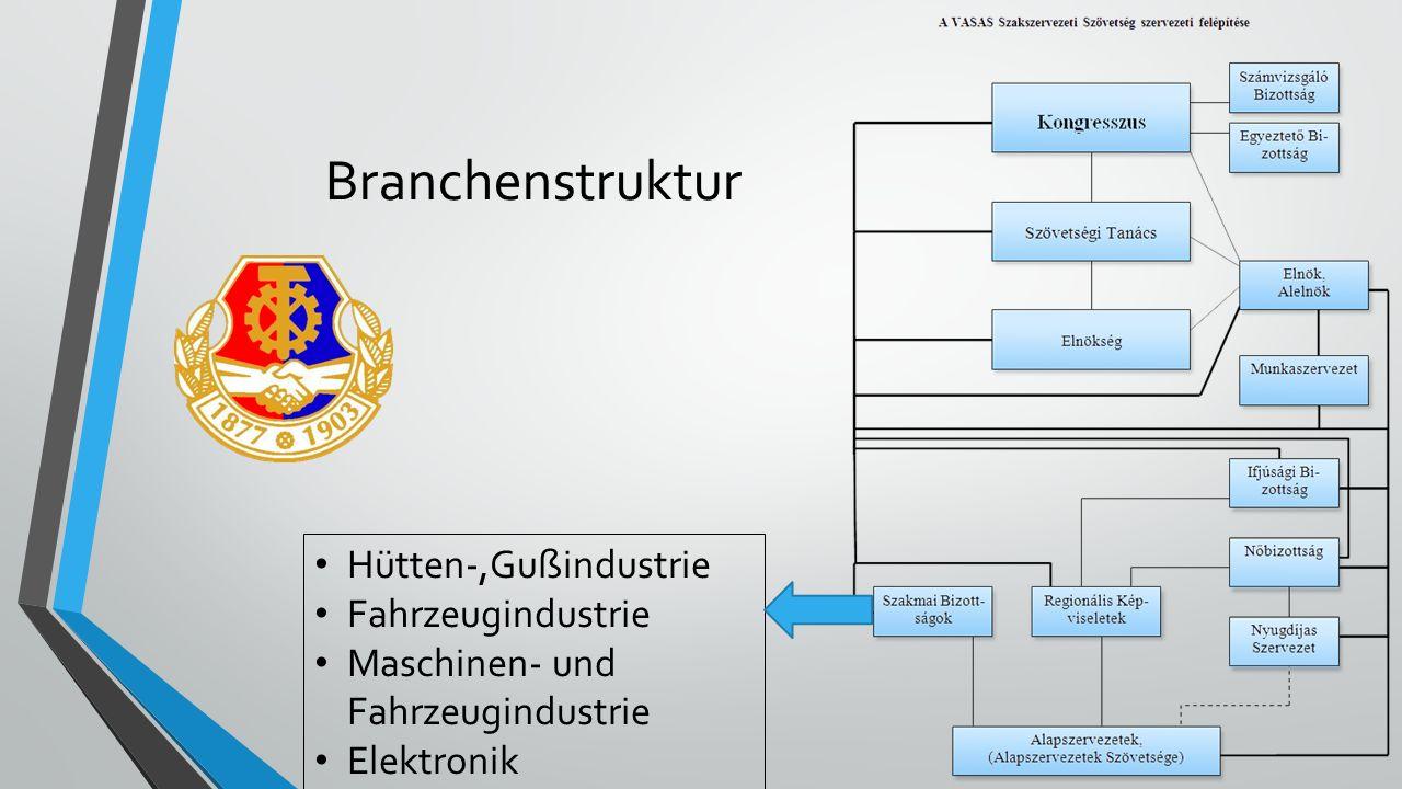 Branchenstruktur Hütten-,Gußindustrie Fahrzeugindustrie Maschinen- und Fahrzeugindustrie Elektronik