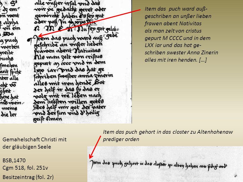 BSB,1470 Cgm 518, fol. 251v Item das puch ward auß- geschriben an unßer lieben frawen abent Nativitas als man zelt von cristus gepurt M CCCC und in de