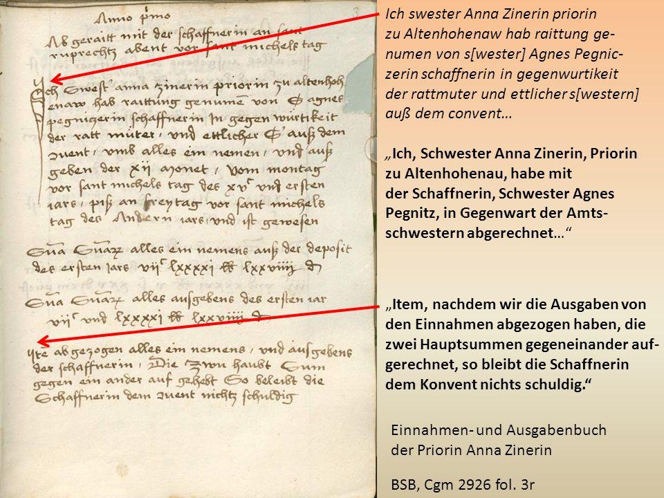 Ich swester Anna Zinerin priorin zu Altenhohenaw hab raittung ge- numen von s[wester] Agnes Pegnic- zerin schaffnerin in gegenwurtikeit der rattmuter