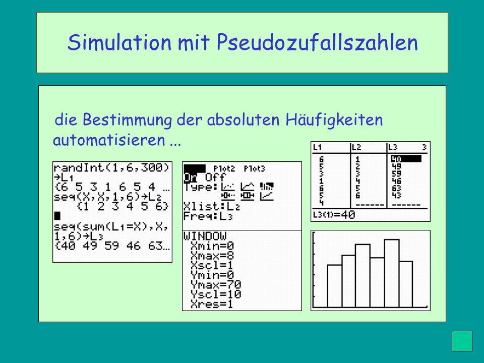 die Bestimmung der absoluten Häufigkeiten automatisieren... Simulation mit Pseudozufallszahlen