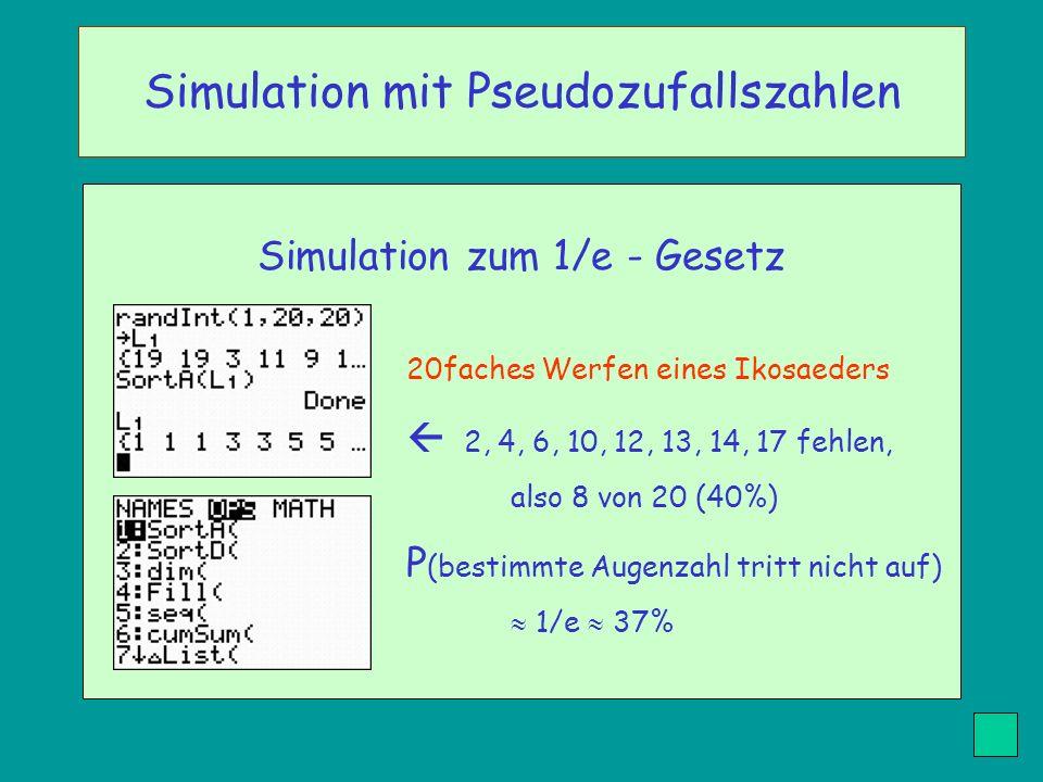 Simulation zum 1/e - Gesetz 20faches Werfen eines Ikosaeders 2, 4, 6, 10, 12, 13, 14, 17 fehlen, also 8 von 20 (40%) P (bestimmte Augenzahl tritt nich