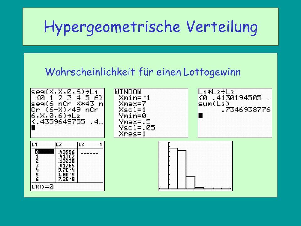 Wahrscheinlichkeit für einen Lottogewinn Hypergeometrische Verteilung