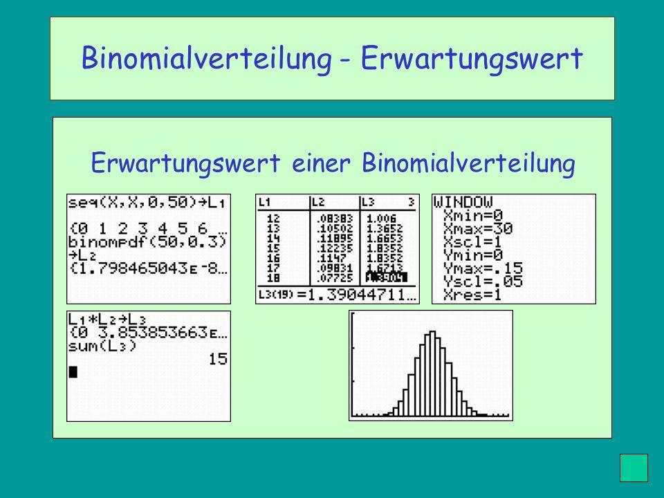 Erwartungswert einer Binomialverteilung Binomialverteilung - Erwartungswert