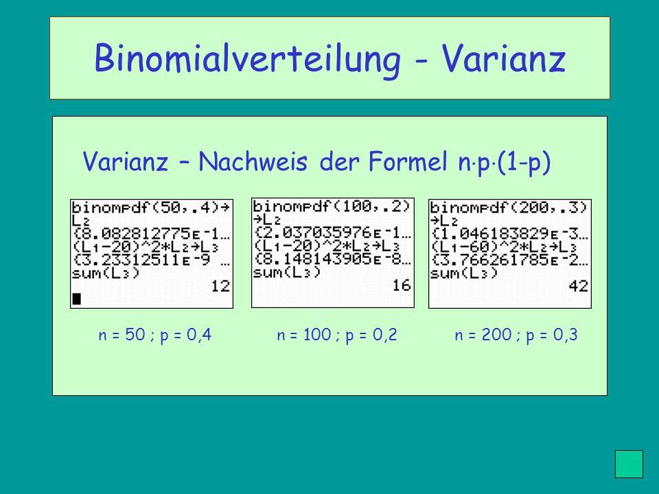 Varianz – Nachweis der Formel n p (1-p) n = 50 ; p = 0,4 n = 100 ; p = 0,2 n = 200 ; p = 0,3 Binomialverteilung - Varianz