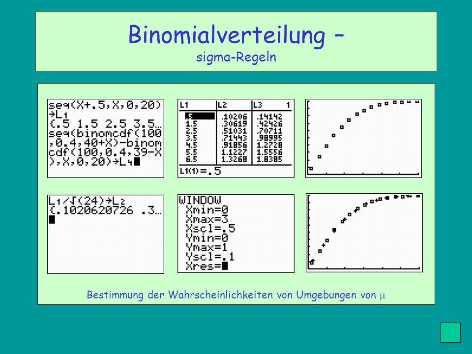 Bestimmung der Wahrscheinlichkeiten von Umgebungen von Binomialverteilung – sigma-Regeln