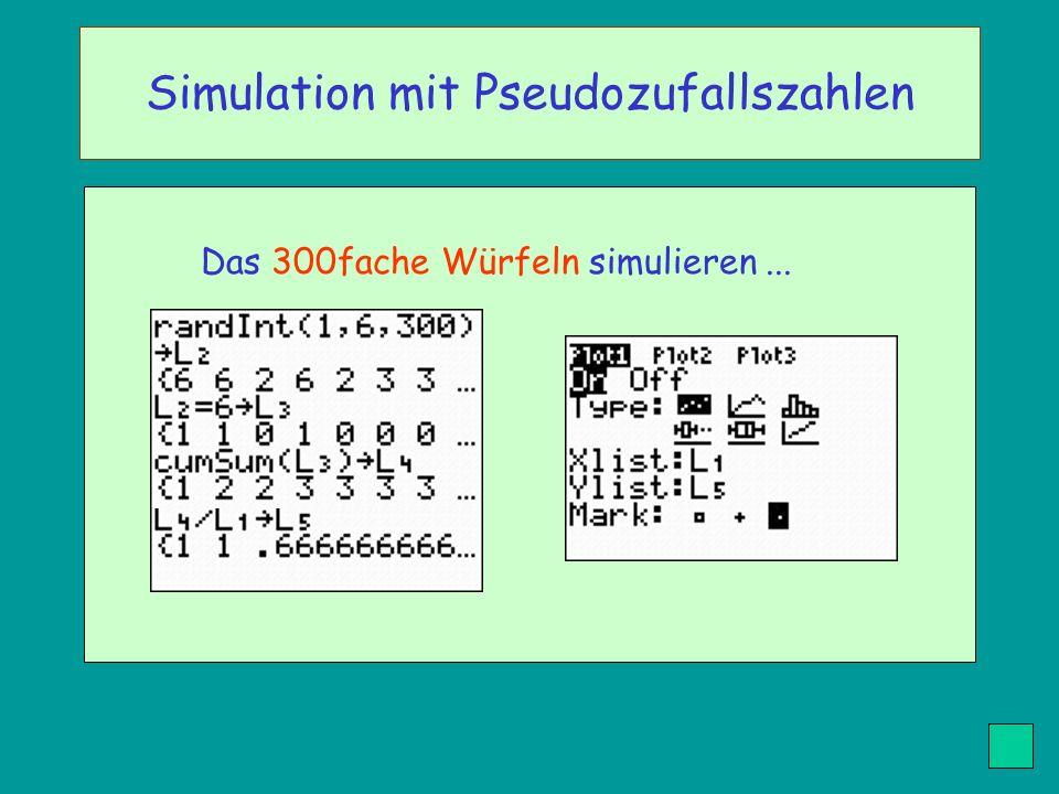 Das 300fache Würfeln simulieren... Simulation mit Pseudozufallszahlen