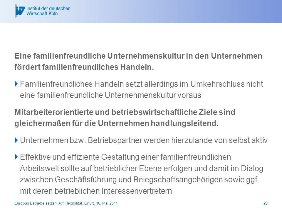 Europas Betriebe setzen auf Flexibilität, Erfurt, 16. Mai 201120 Eine familienfreundliche Unternehmenskultur in den Unternehmen fördert familienfreund