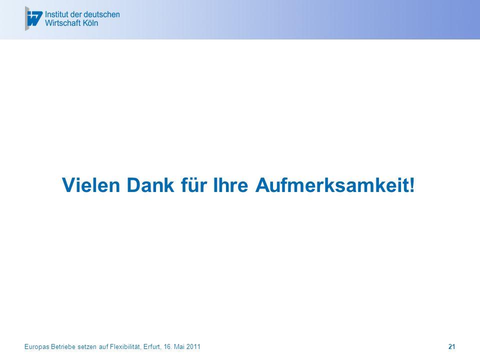 Vielen Dank für Ihre Aufmerksamkeit! Europas Betriebe setzen auf Flexibilität, Erfurt, 16. Mai 201121